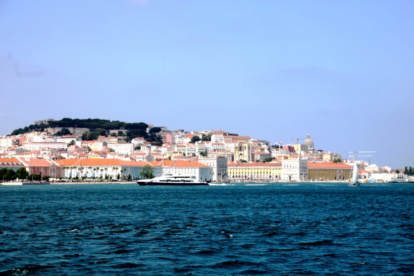 Lisbon from the south side by the sea