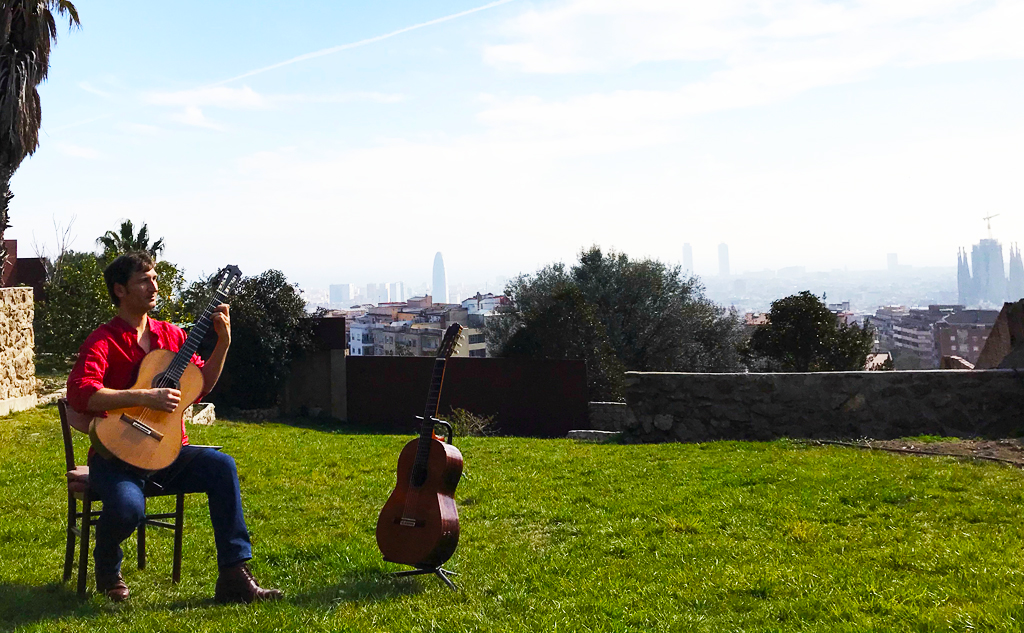 Professional musician Unai Rodriguez performing with Barcelona at his feet