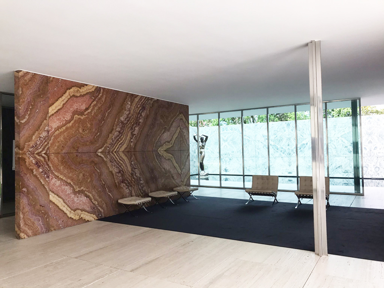 Inside the Barcelona Pavilion by Mies Van der Rohe and Lilly Reich